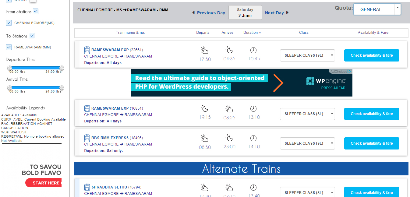 irctc train seat availability check without loggin in
